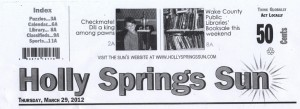 Scan of top header of Holly Springs Sun local newspaper showing New School NC Scholastic chess champion