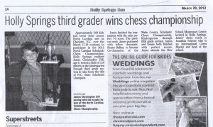 Scan of article in the Holly Springs Sun describing The New School Chess Team success at the NC Scholastic Championship
