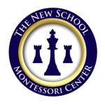 New School Chess Team Official Badge is a blue and gold circle with a king and two rooks