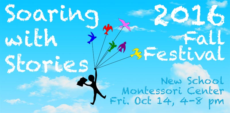 New School 2016 Fall Festival Logo shows a child soaring in the air pulled by colorful birds into a blue sky with clouds behind
