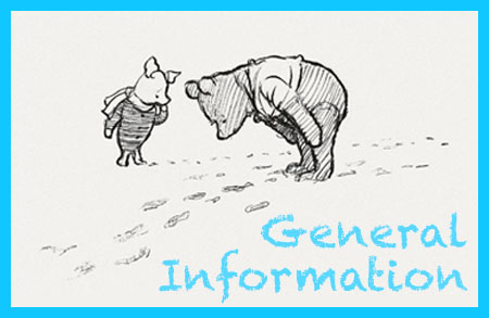 piglet and pooh looking at heffalump tracks in snow classic image with text: general information